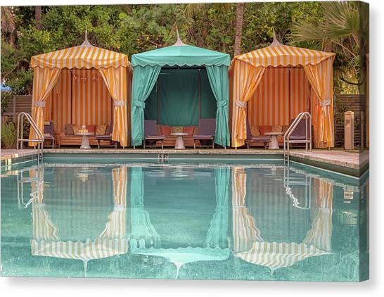 Canvas Print featuring the photograph Cabanas by Alison Frank