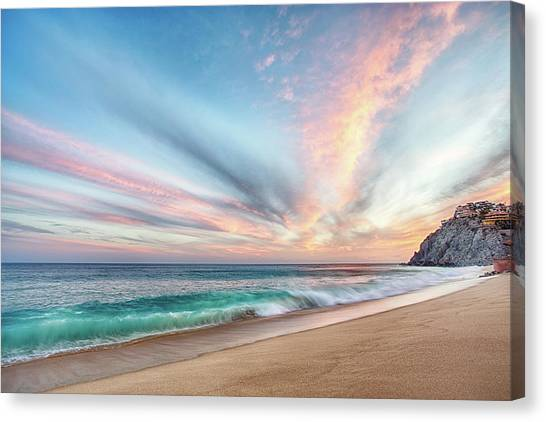 Canvas Print featuring the photograph Cabo San Lucas Beach Wave Sunset by Nathan Bush