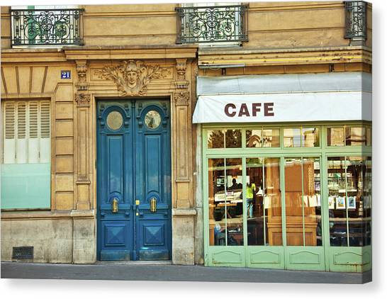 Cafe In Paris Canvas Print by Nikada