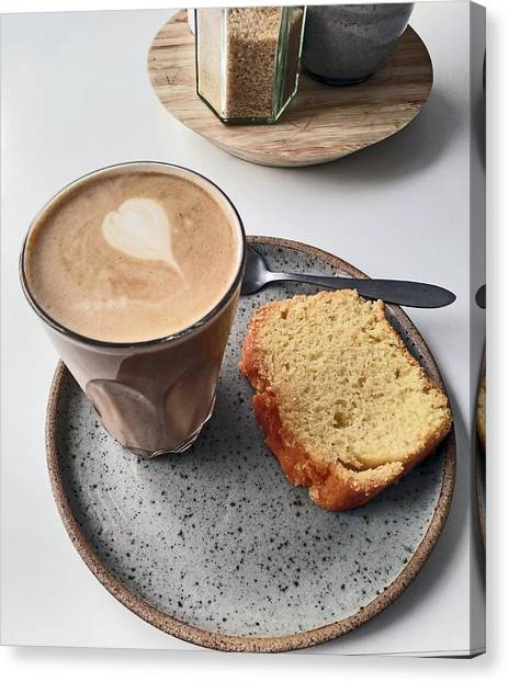 Cafe. Latte And Cake.  Canvas Print