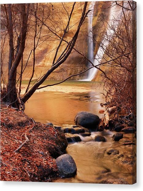 Calf Creek Falls 3 Canvas Print by Leland D Howard