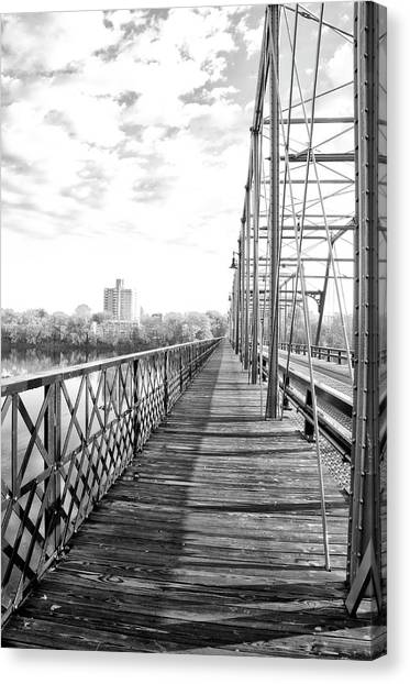 Canvas Print - Calhoun Street Bridge Walkway In Black And White by Bill Cannon