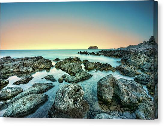 Canvas Print featuring the photograph Calm Rocky Coast In Greece by Milan Ljubisavljevic