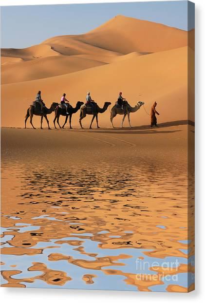 Caravan Canvas Print - Camel Caravan Going Along The Lake The by Vladimir Wrangel