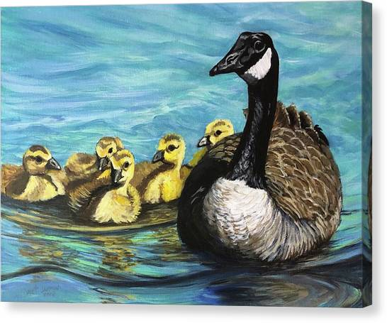 Canvas Print featuring the painting Canadian Goise And Goslings by Jeanette Jarmon
