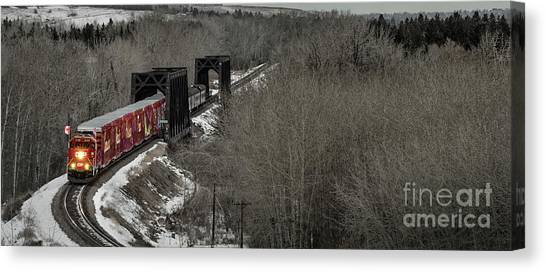 Canvas Print featuring the photograph Canadian Pacific Holiday Train 2018 I by Brad Allen Fine Art