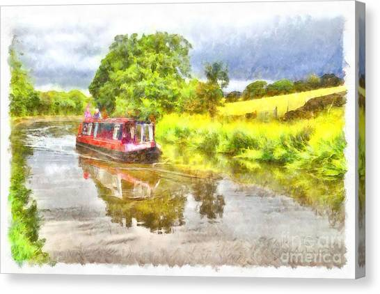 Canal Boat On The Leeds To Liverpool Canal Canvas Print