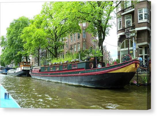 Canal Boats In Amsterdam - 2 Canvas Print
