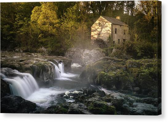 Canvas Print featuring the photograph Cenarth Falls At Sunrise by Elliott Coleman