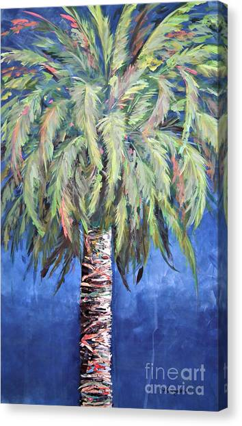 Canary Island Palm- Warm Blue I Canvas Print