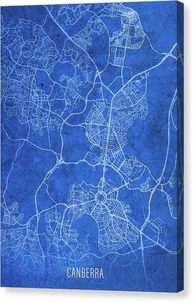Canberra Canvas Print - Canberra Australia City Street Map Blueprints by Design Turnpike