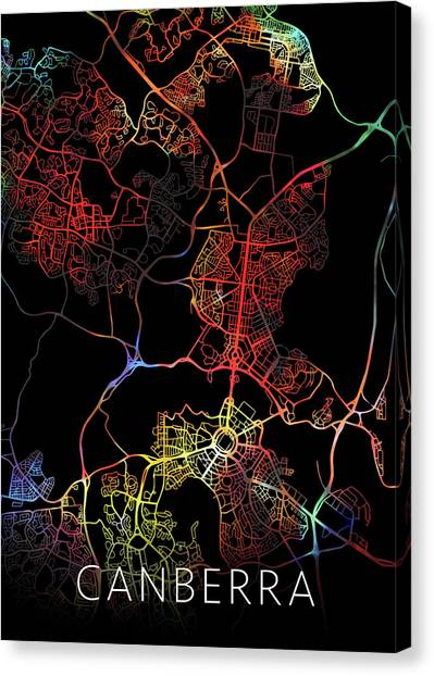 Canberra Canvas Print - Canberra Australia City Street Map Watercolor Dark Mode by Design Turnpike