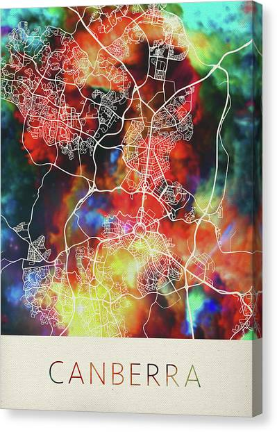 Canberra Canvas Print - Canberra Australia Watercolor City Street Map by Design Turnpike