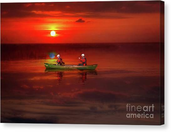 Canvas Print - Canoe At Sunset by Adrian Evans