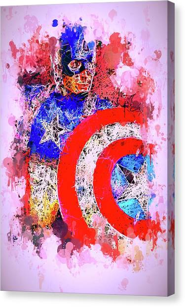 Captain America Watercolor Canvas Print