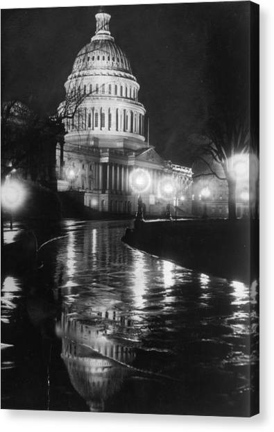 Parliament Hill Canvas Print - Capitol By Night by Evening Standard