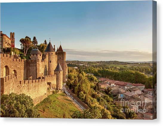 Fortification Canvas Print - Carcassonne Citadel by Delphimages Photo Creations
