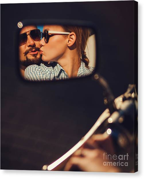 Happiness Canvas Print - Carefree Young Couple In Sunglasses by Maksim Ladouski