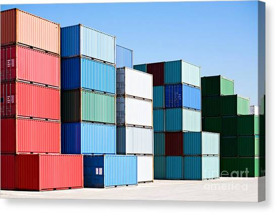 Freight Canvas Print - Cargo Shipping Containers Stacked At by Sascha Burkard