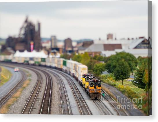 Freight Canvas Print - Cargo Train Photographed Using A by Jkom
