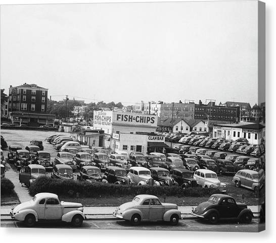 Cars On Parking In Asbury Park, Nj, B&w Canvas Print by George Marks