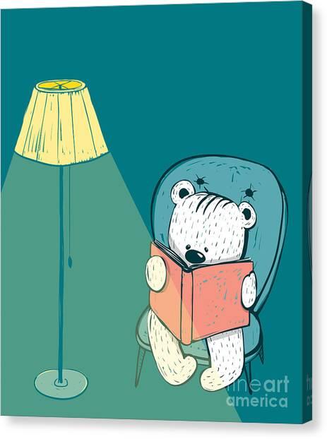 Cartoon Baby Bear Reading A Book. Hand Canvas Print by Popmarleo