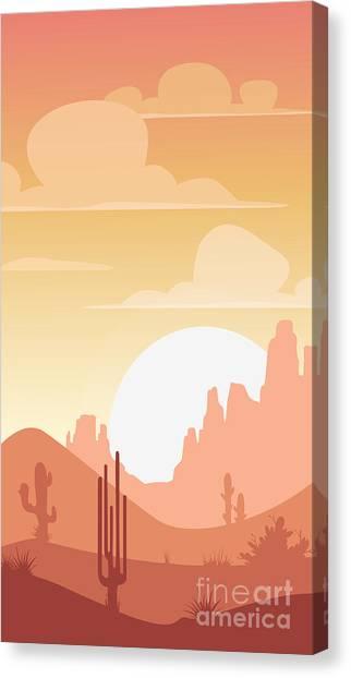 West Canvas Print - Cartoon Desert Landscape, Sunset by Lilu330