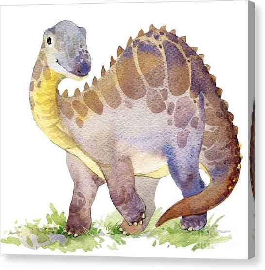 Science Education Canvas Print - Cartoon Dinosaur Watercolor by Faenkova Elena
