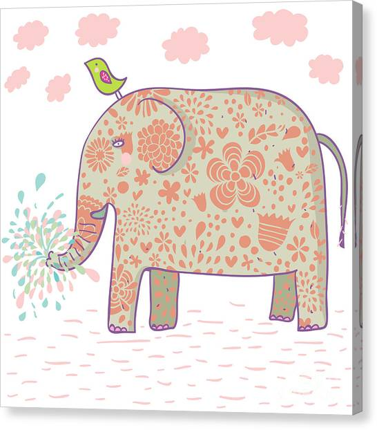 Humorous Canvas Print - Cartoon Elephant Design. This by Smilewithjul
