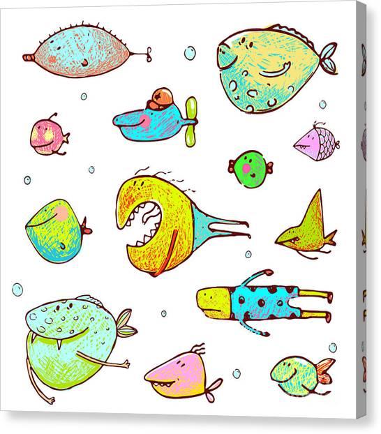 Humorous Canvas Print - Cartoon Fun Humorous Fish Drawing by Popmarleo