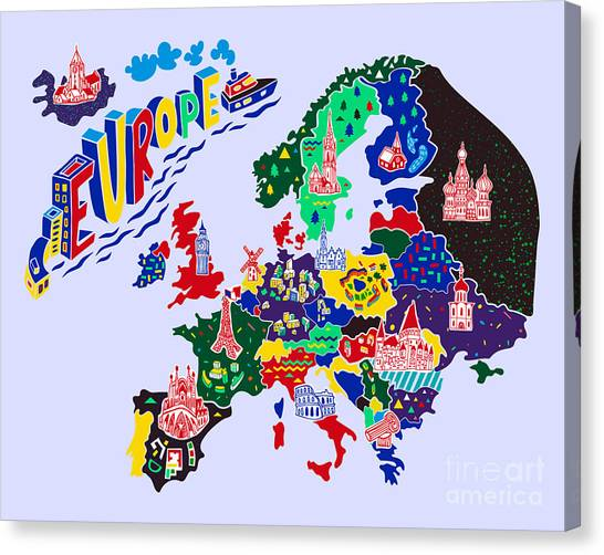 Cartoon  Map Of Europe. Travels Canvas Print by Daria i
