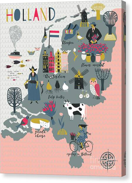 Cartoon Map Of Holland With Legend Icons Canvas Print by Lavandaart