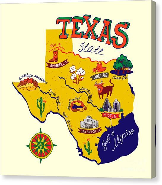 Compass Canvas Print - Cartoon Map Of Texas.travels by Daria i
