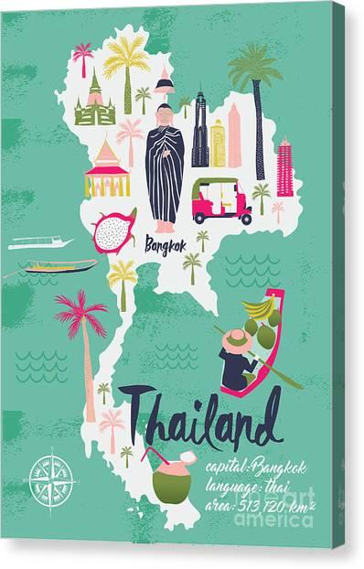 Trip Canvas Print - Cartoon Map Of Thailand. Print Design by Lavandaart