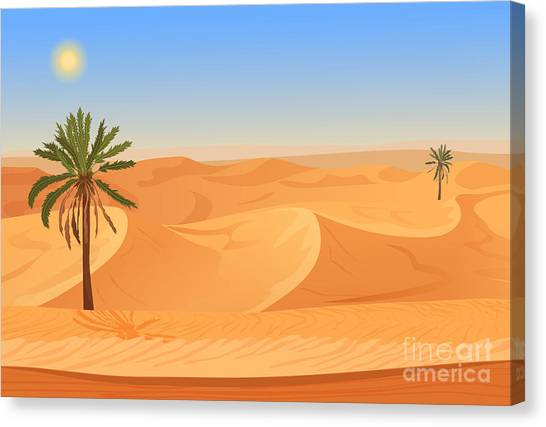 Horizontal Canvas Print - Cartoon Nature Sand Desert Landscape by Lemberg Vector Studio