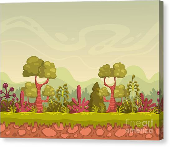 Horizontal Canvas Print - Cartoon Seamless Nature Landscape by Lilu330