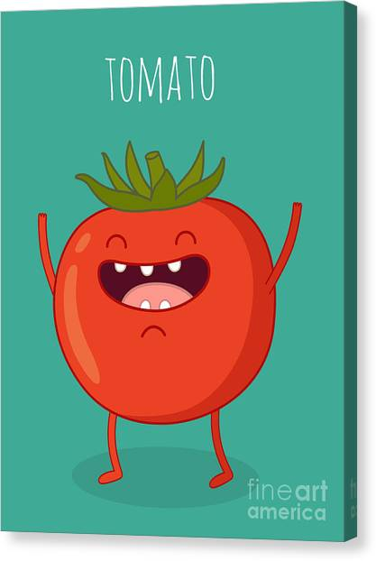 Ingredient Canvas Print - Cartoon Tomato With Eyes And Smiling by Serbinka