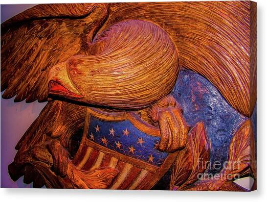 Carved Wood - Eagle Canvas Print by D Davila