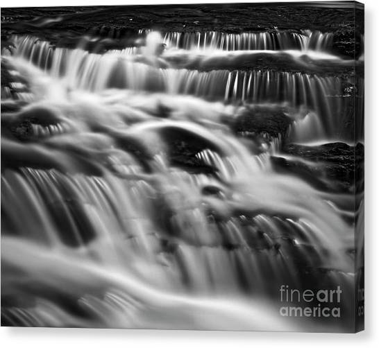 Canvas Print featuring the photograph Cascade 5 Bw by Patrick M Lynch