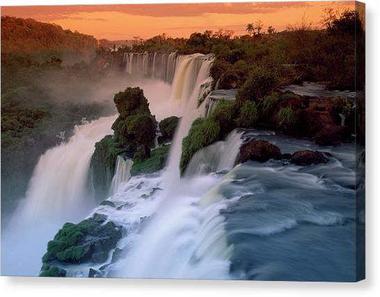 Cascades Of The Iguacu Falls, The Canvas Print by Thomas Marent/ Minden Pictures
