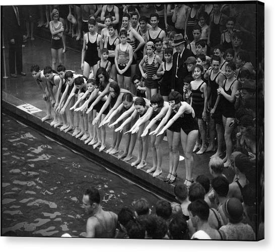 Cascades Pool, Jerome Ave. & 169th Canvas Print by The New York Historical Society