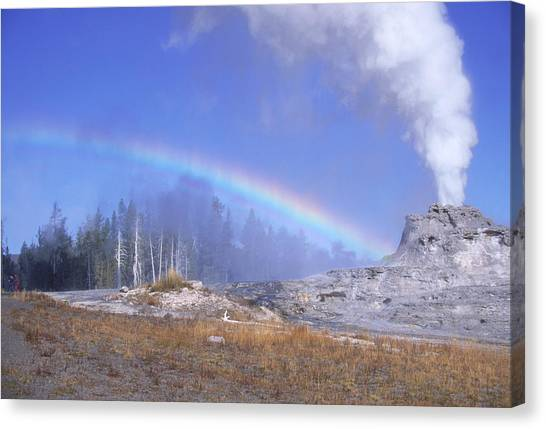 Castle Geyser And Rainbow Canvas Print by David Hosking