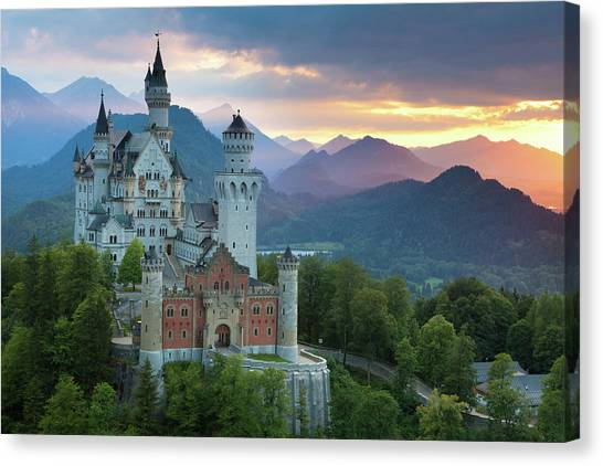 Castle Neuschwanstein With A Dramatic Canvas Print