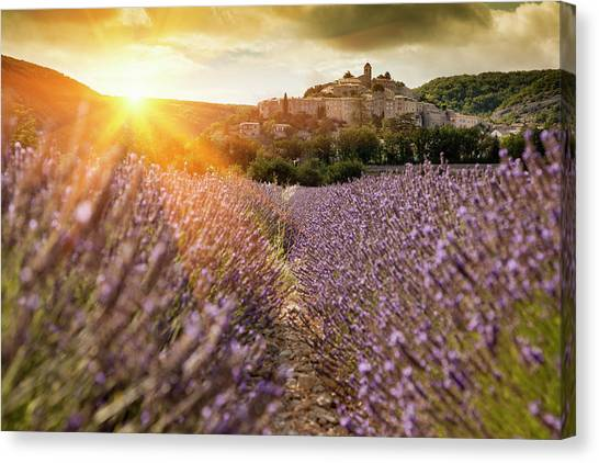 Castle Overlooking Field Of Flowers Canvas Print by Cultura Rm Exclusive/walter Zerla