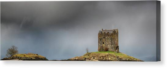 Canvas Print featuring the photograph Castle Stalker Downpour by Grant Glendinning