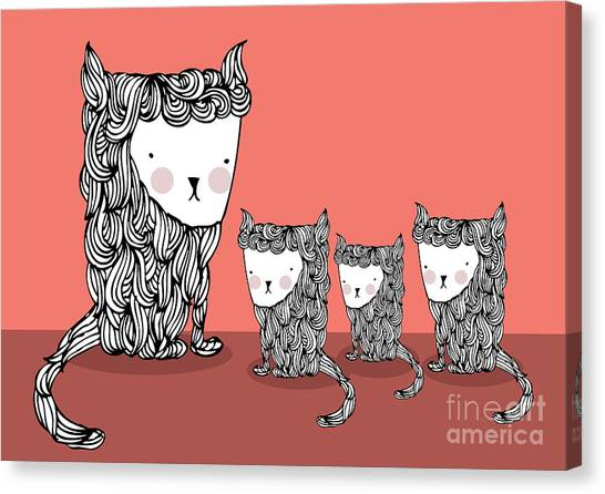 Cat And Kittens Illustrationvector Canvas Print by Lyeyee