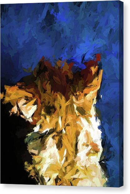 Cat And The Cobalt Blue Wall Canvas Print