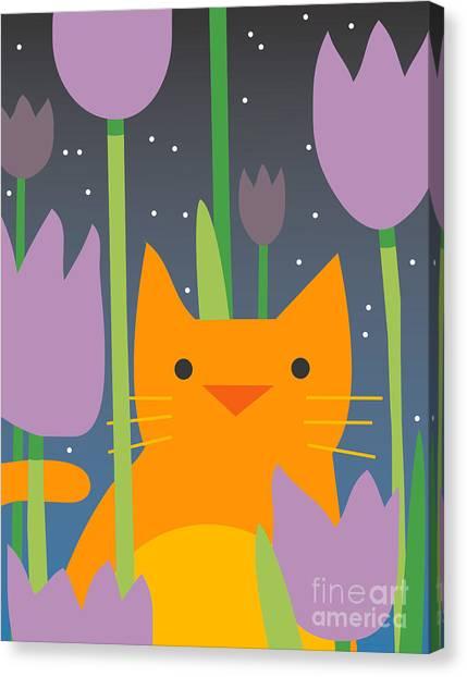 Amaryllis Canvas Print - Cat Look 3 by Artistan