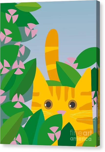 Amaryllis Canvas Print - Cat Look 7 by Artistan