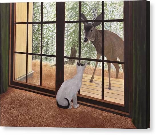 Cat Meets Deer Canvas Print